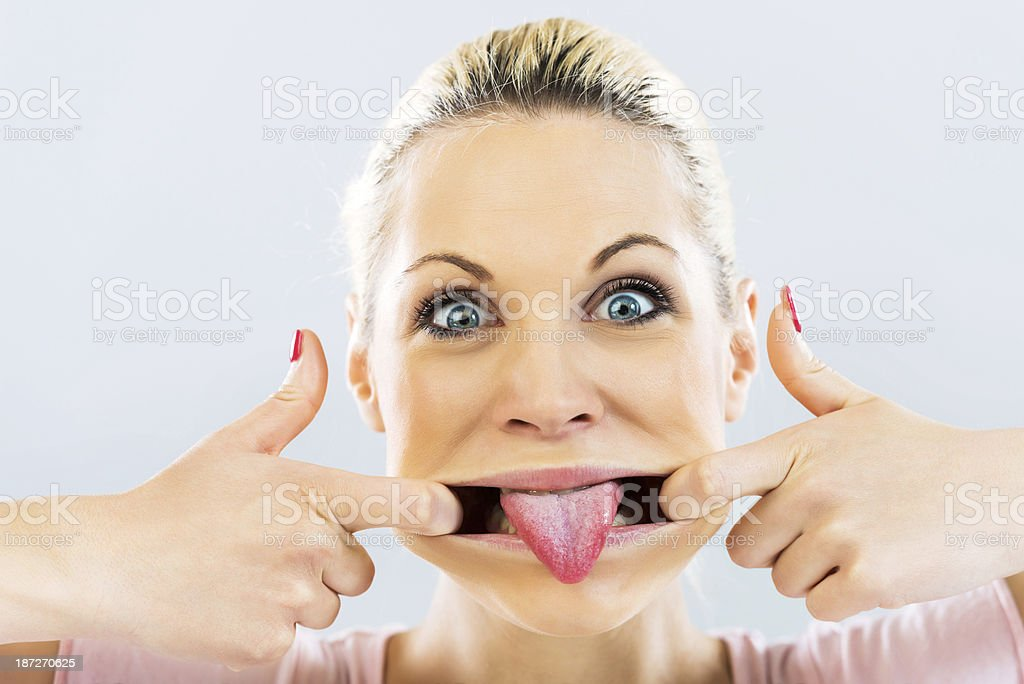 Crazy young woman. stock photo