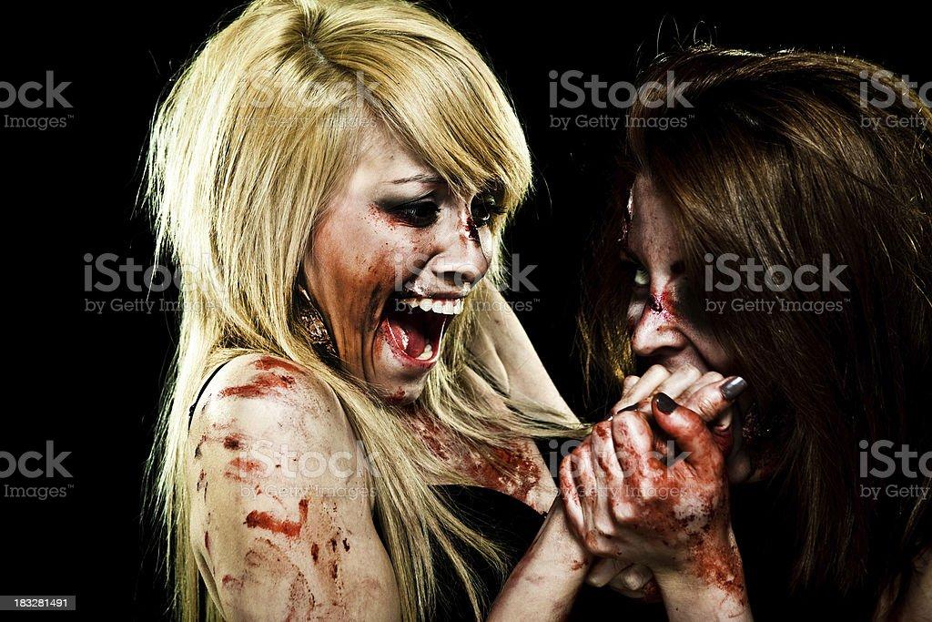 Crazy Zombie Girls royalty-free stock photo