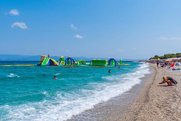 Crazyland Water Park on Pefkochori Beach in Halkidiki, Greece. stock photo