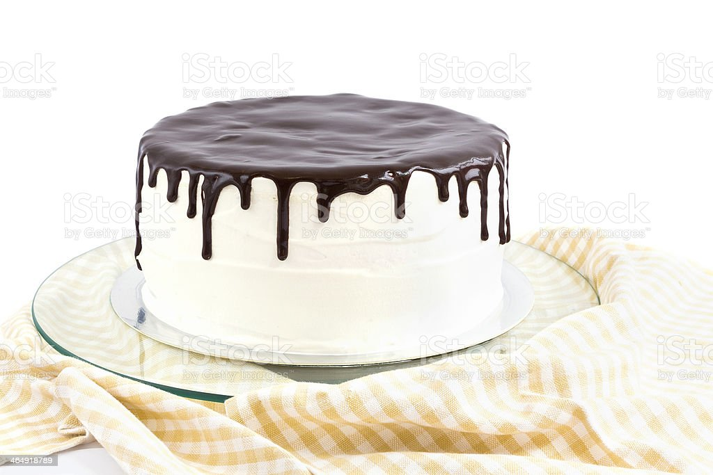 Cream and chocolate cake stock photo