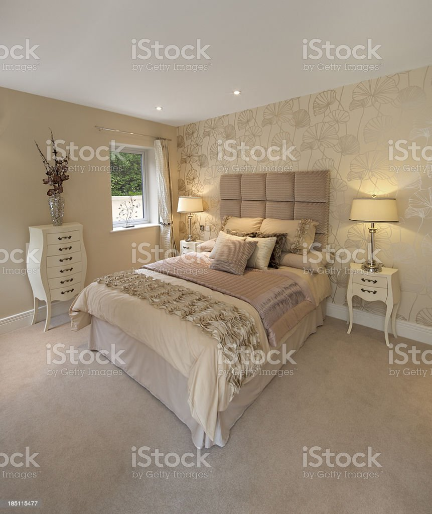 Cream And Gold Bedroom Royalty Free Stock Photo
