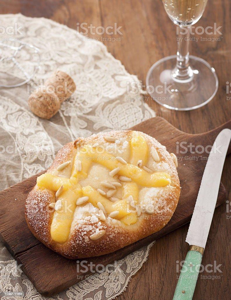 Cream and pine nuts brioche stock photo