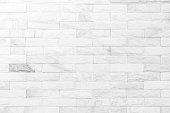 istock Cream and white brick wall texture background. Brickwork or stonework flooring interior rock old pattern clean concrete grid uneven bricks design stack. 1008177690