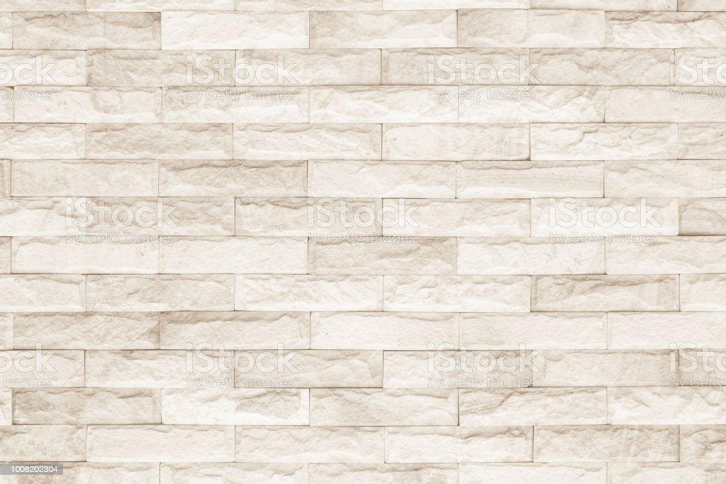 Cream And White Brick Wall Texture Background. Brickwork Or Stonework  Flooring Interior Rock Old Pattern