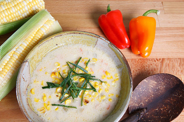 Cream based corn chowder soup stock photo
