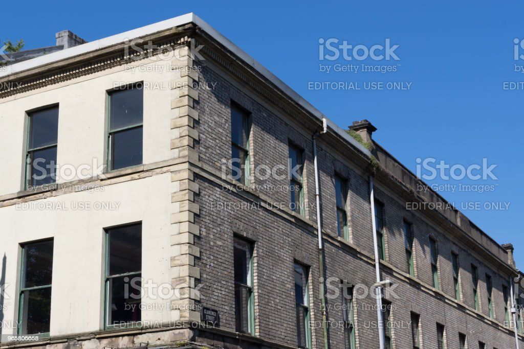 Cream bricked Victorian warehouse stock photo