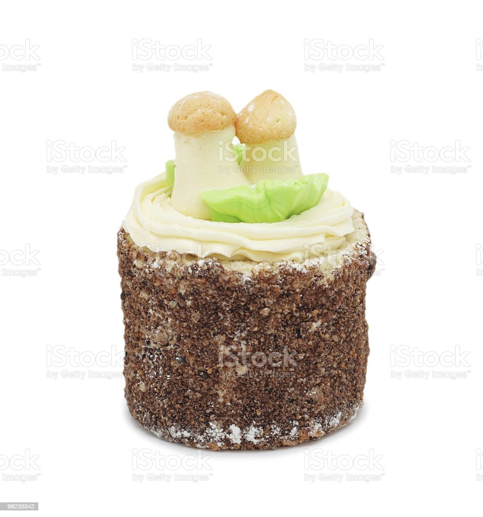 Cream cake 'Mushroom Glade', isolated royalty-free stock photo