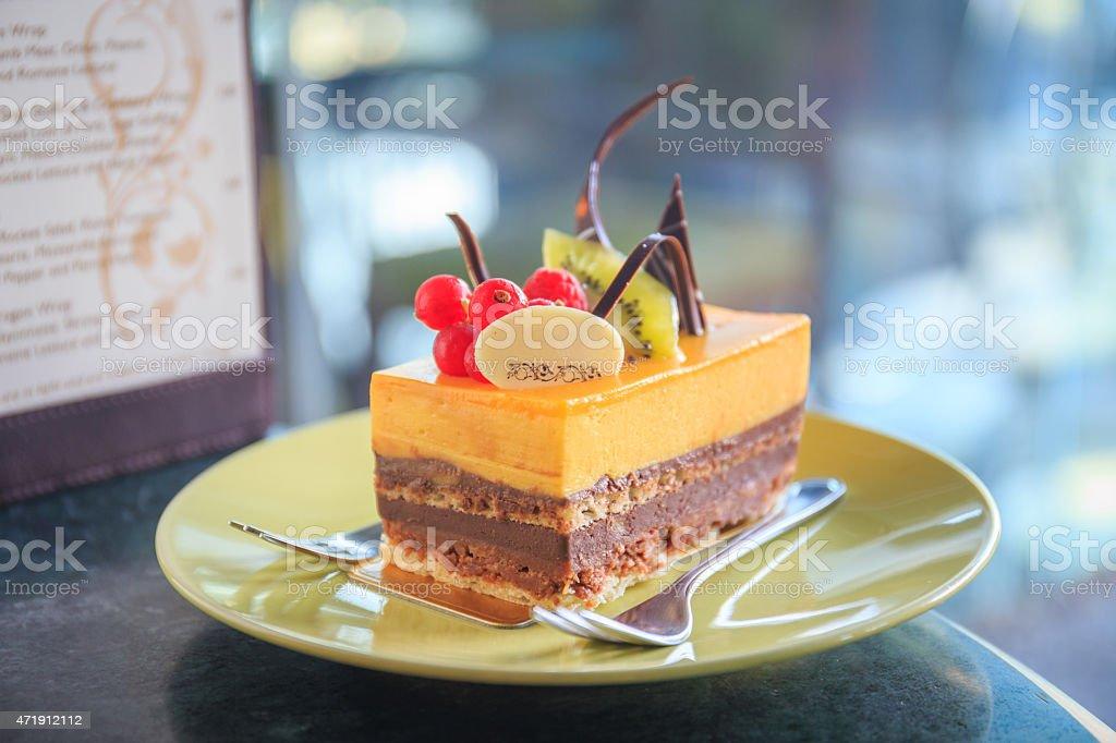 cream cake with fruit stock photo