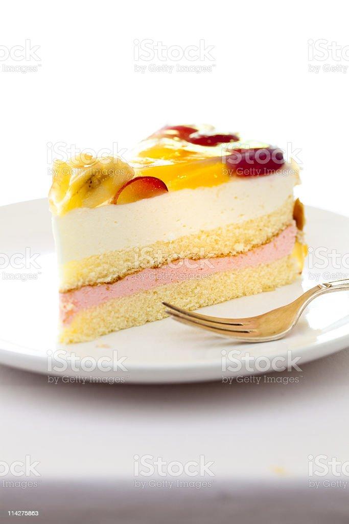 cream cake with fruits stock photo