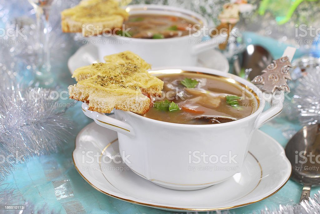 cream cep soup with cheese toast for christmas royalty-free stock photo