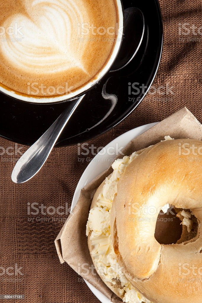 Cream Cheese Bagel & Coffee stock photo