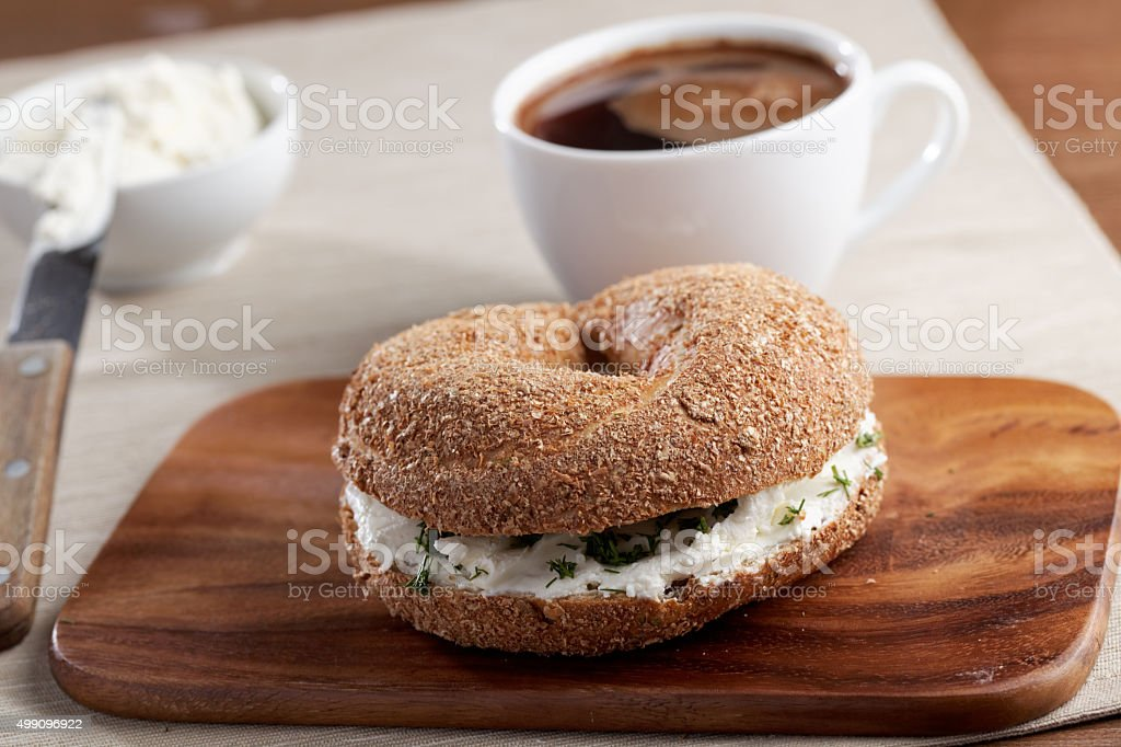 Cream cheese bagel sandwich stock photo