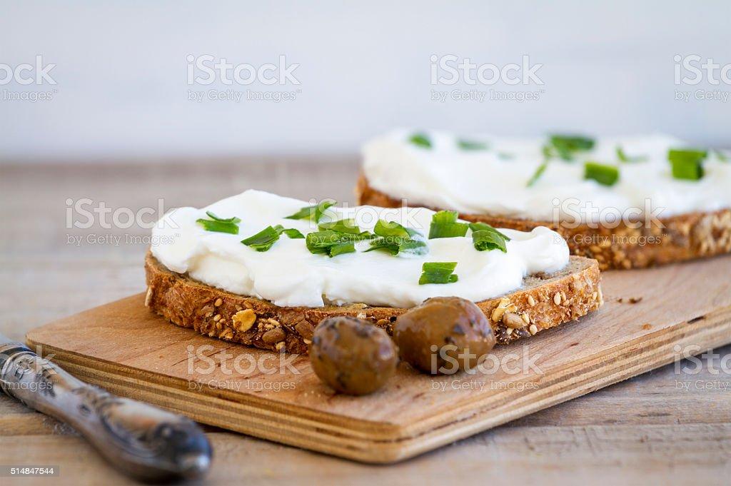 Cream cheese sandwich stock photo