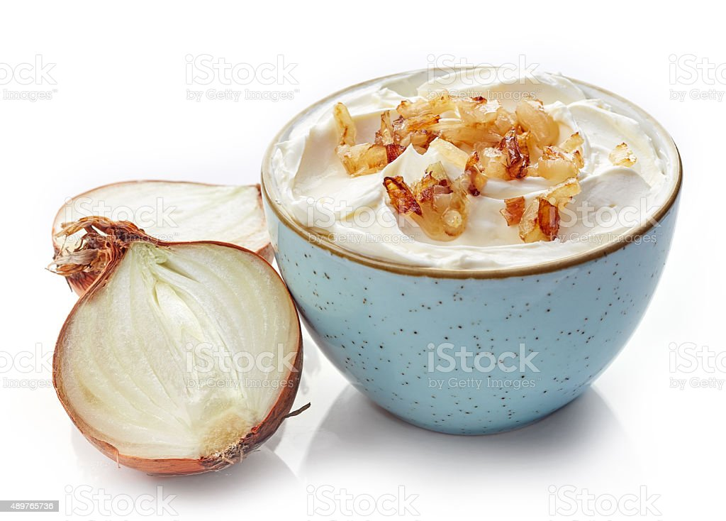 cream cheese with caramelized onions stock photo