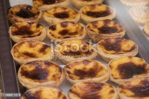 Selection of cream custard tarts at a bakery in Lisbon. These are commonly found throughout the city.