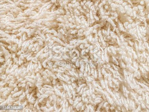 Close up cut pile carpet in cream color