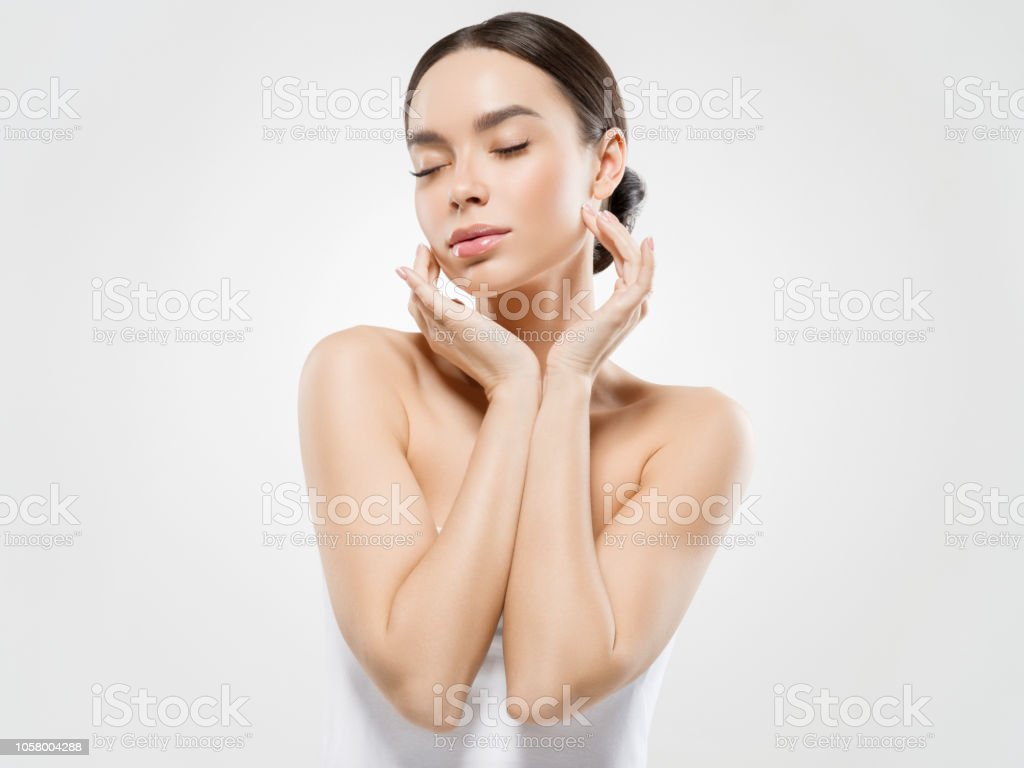 Cream Face Woman Cosmetic Healthy Skin Care Beauty Woman Portrait Isolated On White Stock Photo Download Image Now Istock