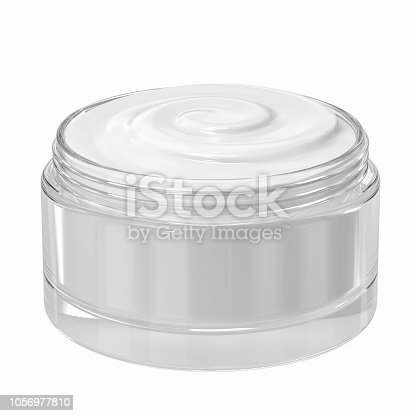 3d rendering cosmetic cream in open pot