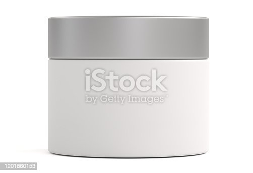 cream, on white background, 3d, jar