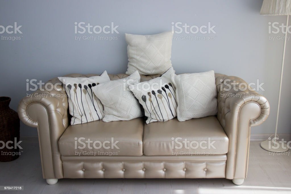 Cream Leather Sofa Interior With Furniture Linen Pillows On The