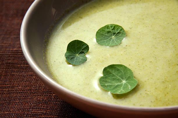 Cream of broccoli soup with Nasturtium leaves stock photo