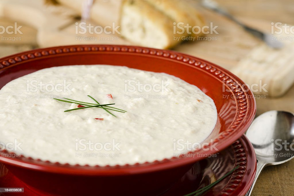 Cream of Cauliflower Soup and Focaccia Horizontal royalty-free stock photo