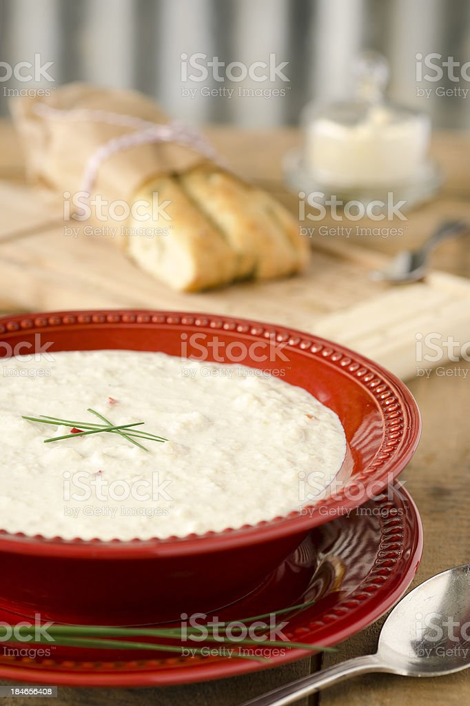Cream of Cauliflower Soup and Focaccia royalty-free stock photo