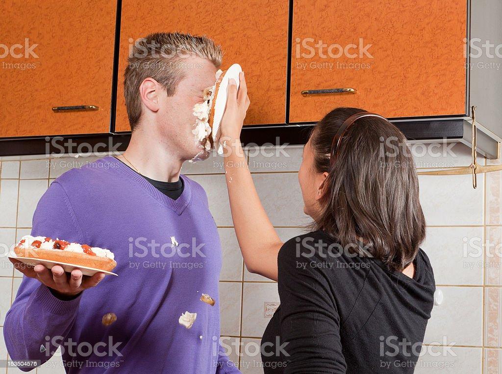 Cream pie in his face stock photo