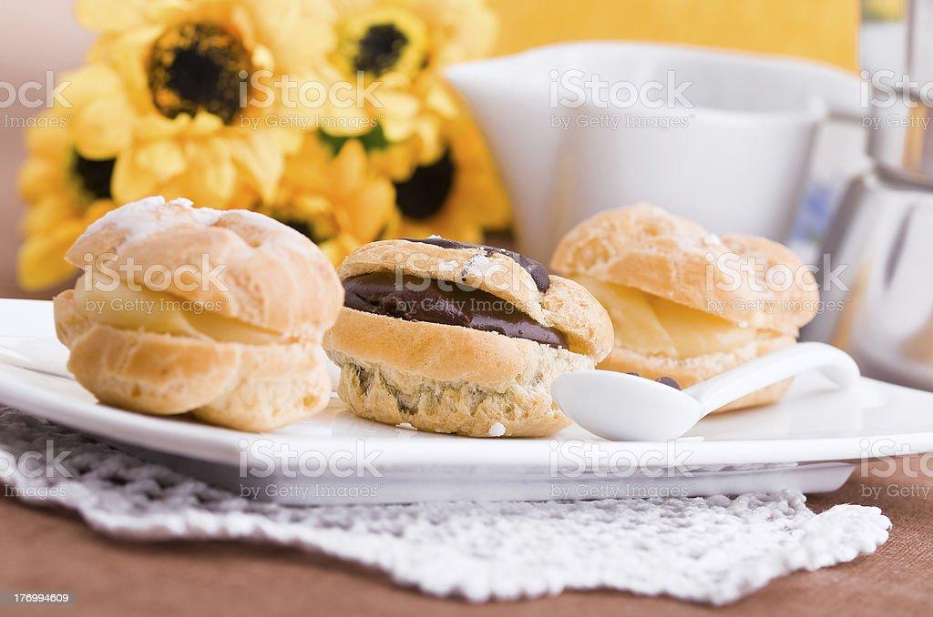 Cream puffs. royalty-free stock photo