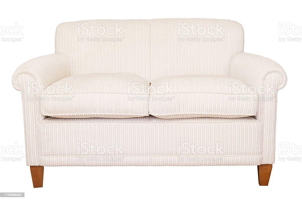 Cream sofa white background royalty-free stock photo