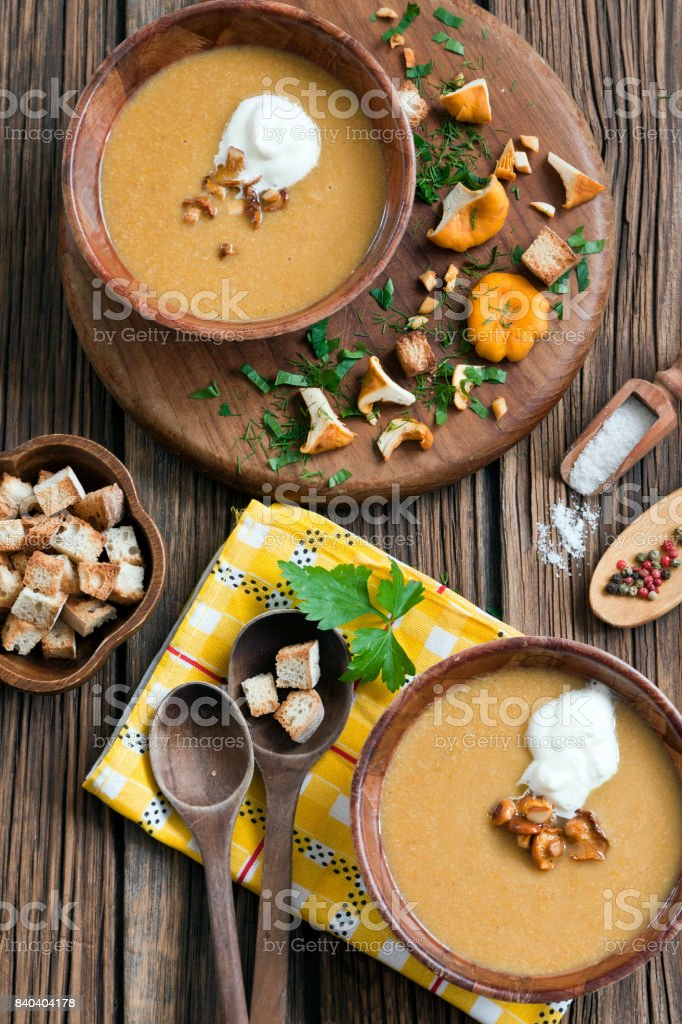 Cream soup with fresh mushrooms stock photo
