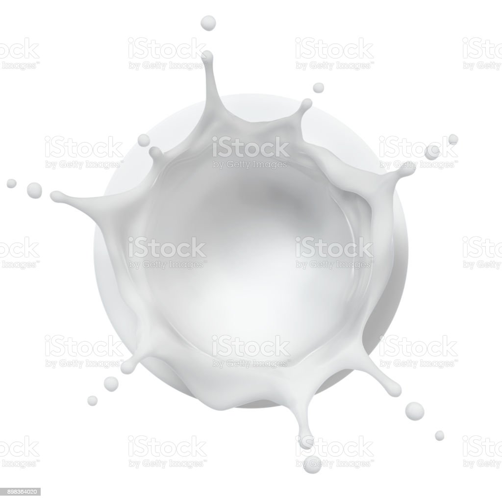 Cream Splash Top View stock photo