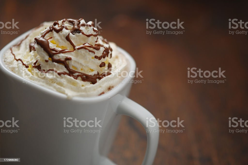cream topping on a hot chocolate drink royalty-free stock photo