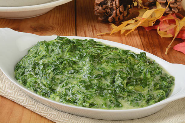 Creamed spinach stock photo