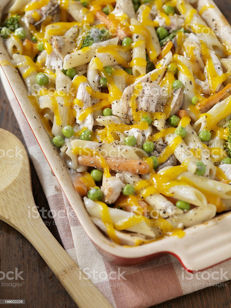 Creamy Baked Chicken and Penne Casserole royalty-free stock photo