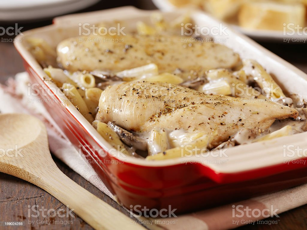 Creamy Baked Chicken, Mushroom and Penne Casserole royalty-free stock photo