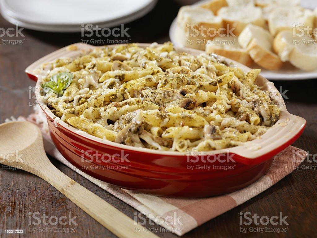 Creamy Baked Pesto Chicken, Mushroom and Penne Casserole royalty-free stock photo