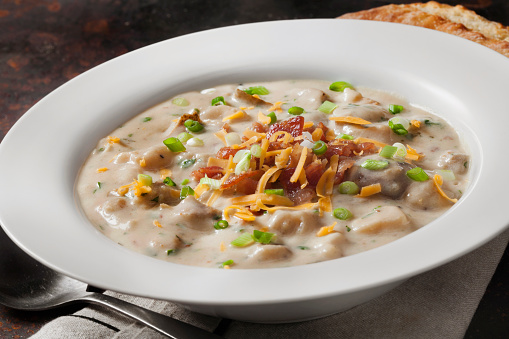 Creamy Baked Potato Soup with Cheddar Cheese, Green Onions and Crispy Bacon