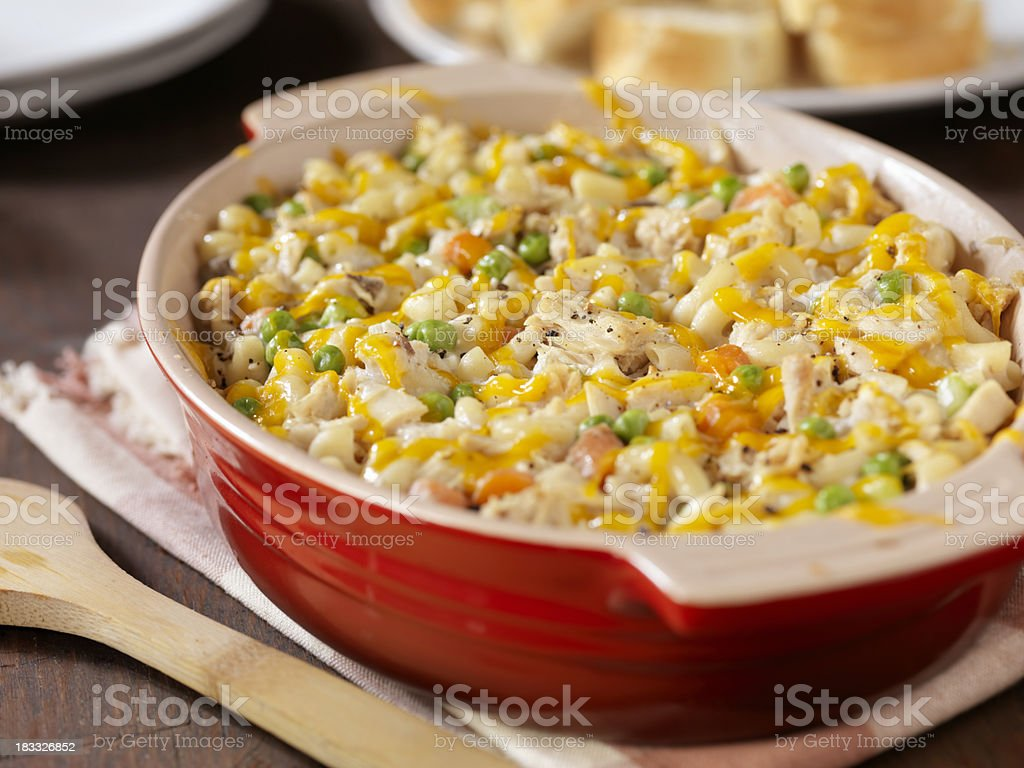 Creamy Baked Tuna and Macaroni Casserole stock photo