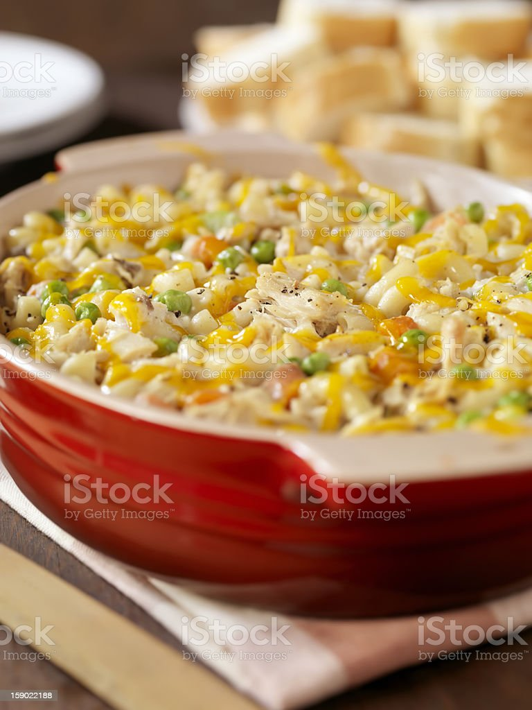 Creamy Baked Tuna and Macaronni Casserole stock photo