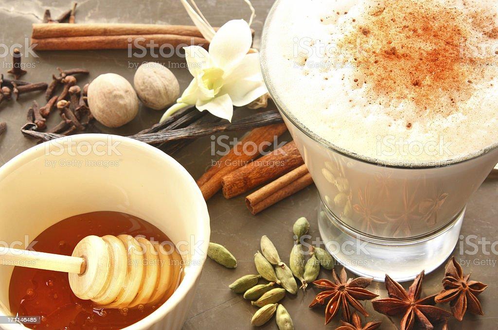 Creamy chai latte stock photo