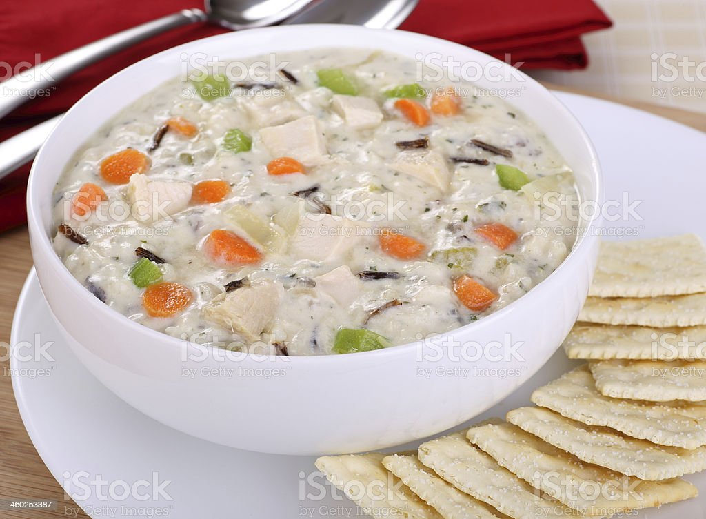 Creamy Chicken and Rice Soup stock photo