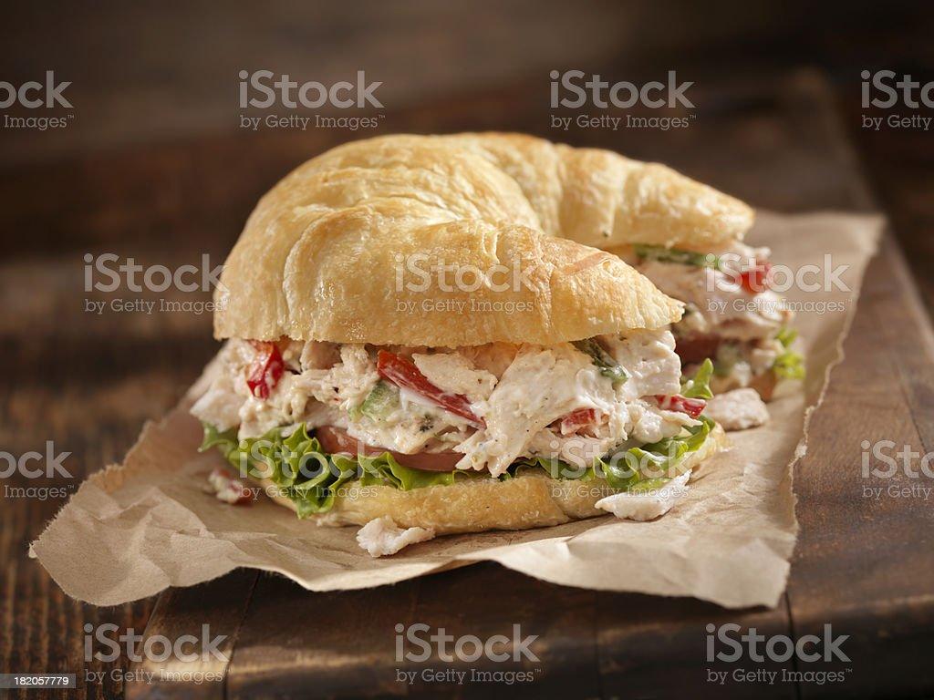 Creamy Chicken Salad on a Croissant stock photo