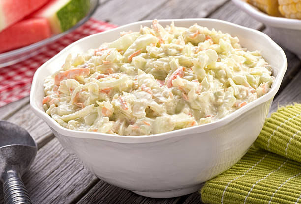 creamy coleslaw - coleslaw stock pictures, royalty-free photos & images