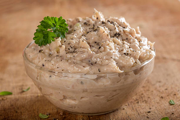 Creamy fish pate in bowl stock photo