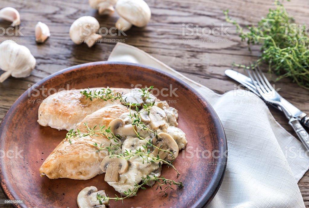 Creamy Garlic Mushroom Chicken stock photo