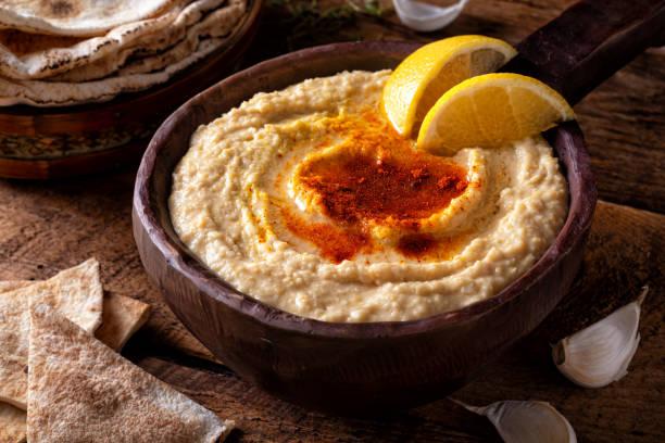 Creamy Hummus stock photo