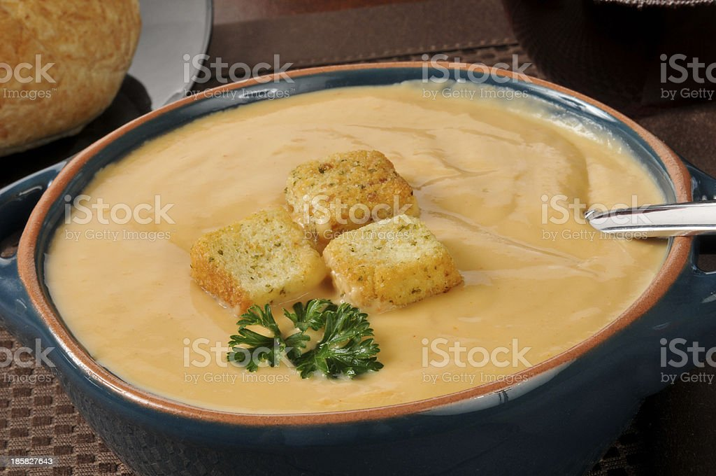 Creamy lobster bisque soup stock photo