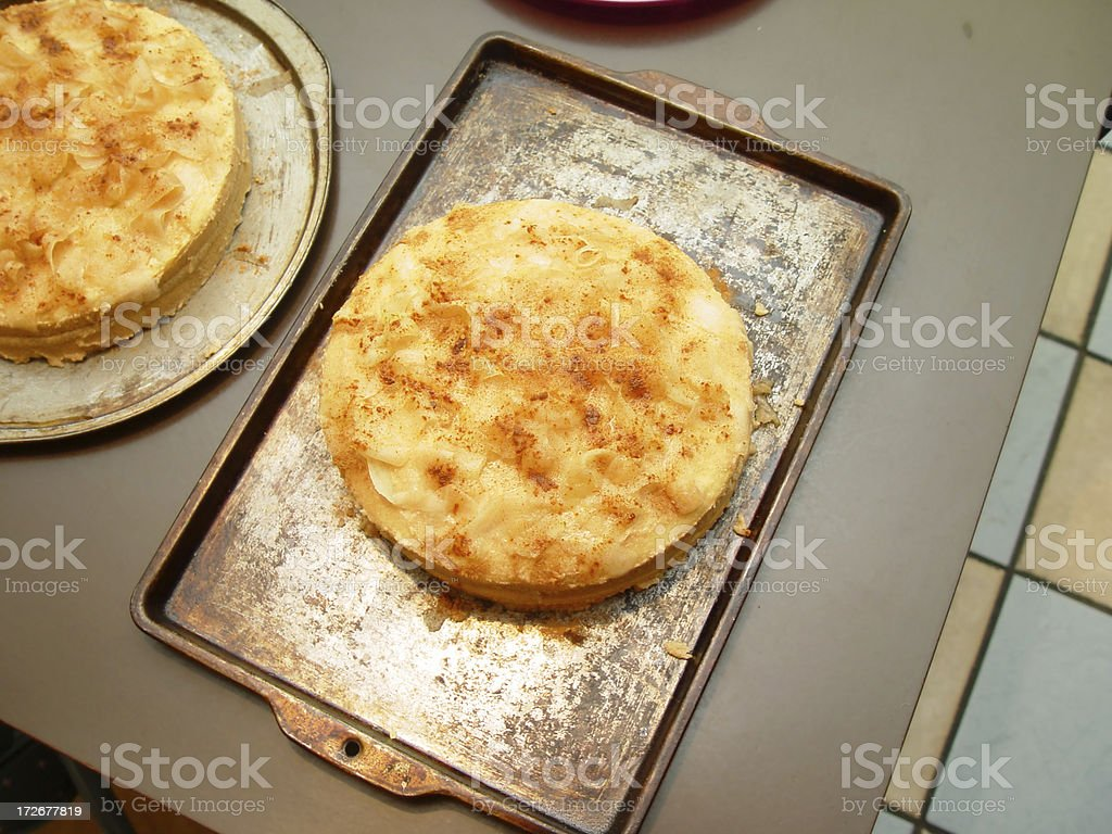 Creamy Pie on Cooking Tray royalty-free stock photo