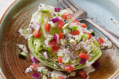 Creamy Ranch Wedge Salad with Tomatoes, Cucumber, Red Onion and Scallions
